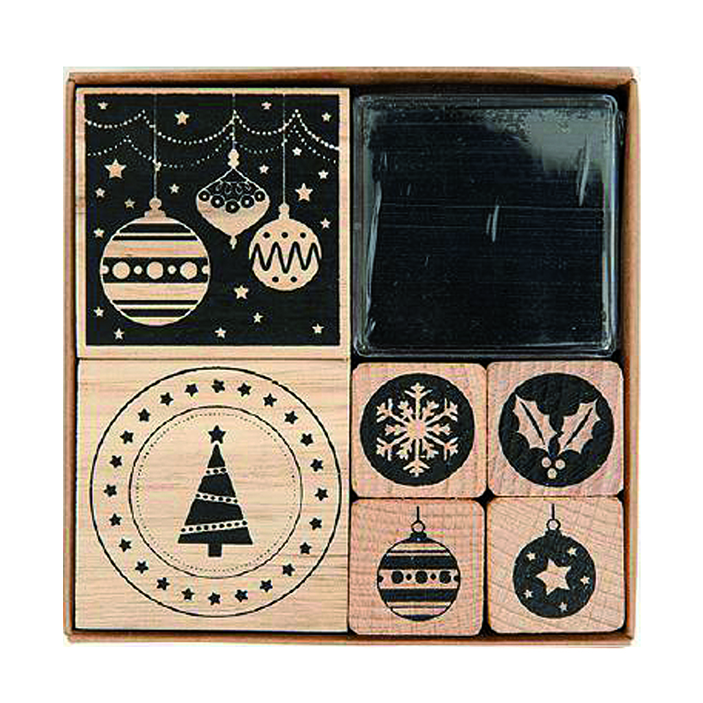 modern christmas stamp set