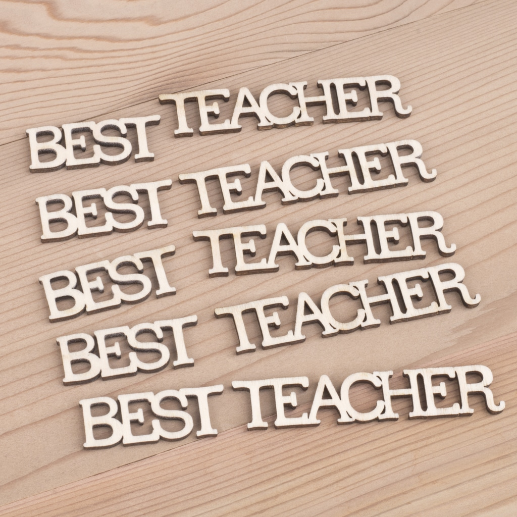 mini wooden best teacher words