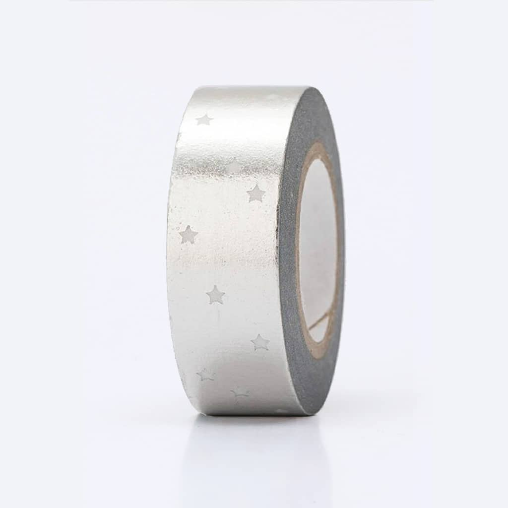 Washi tape hot foil silver stars
