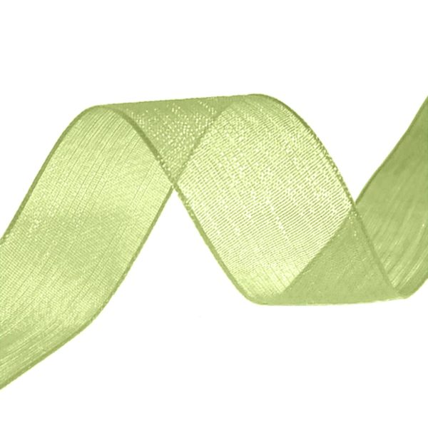 organza ribbon pale lime