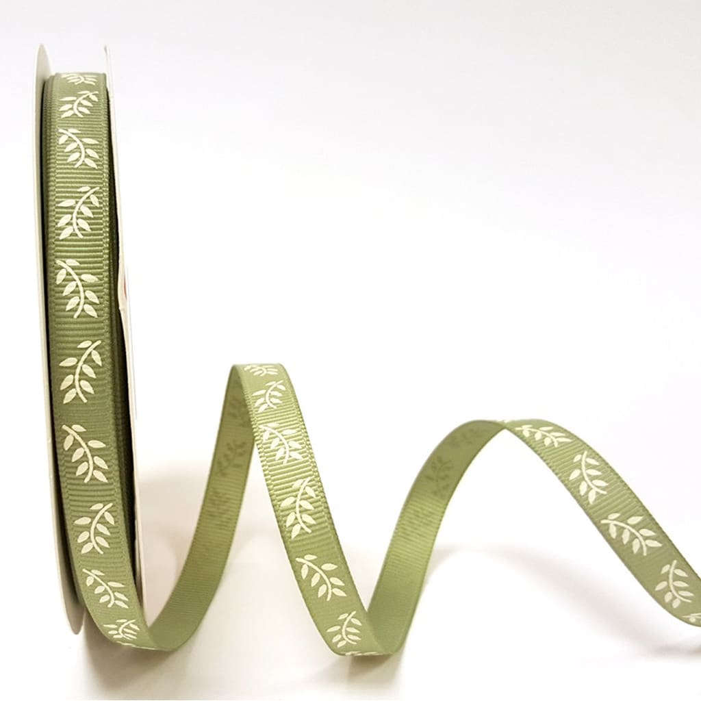 fern print ribbon sage green