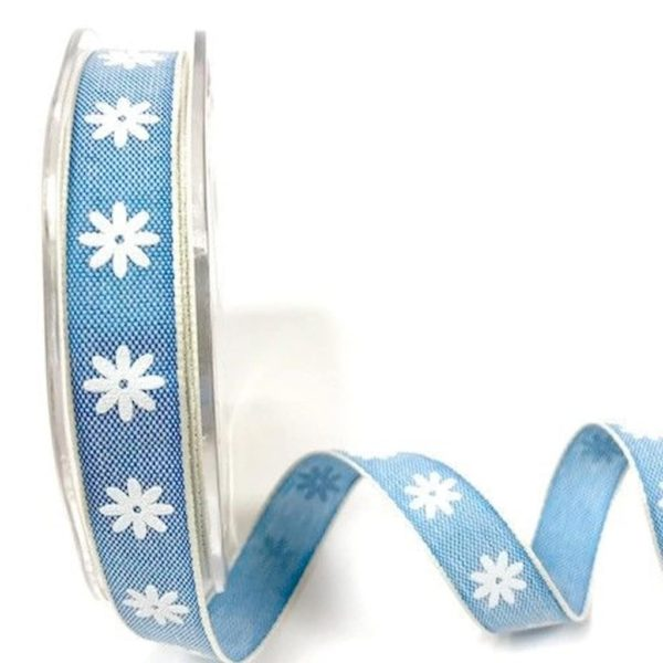 daisy print ribbon blue