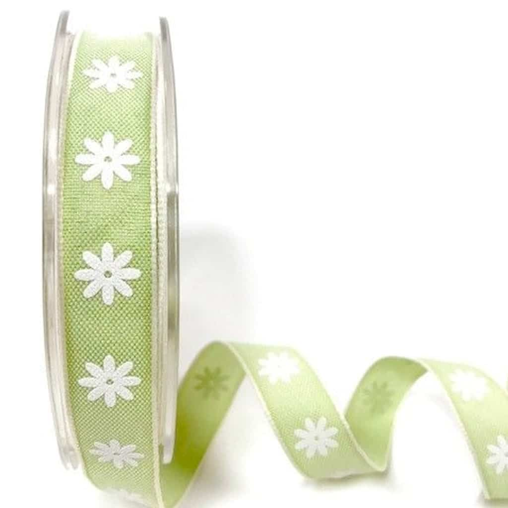 daisy print ribbon lime