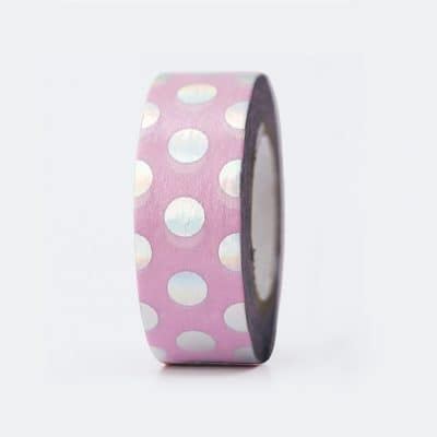 washi tape pink iridescent dots