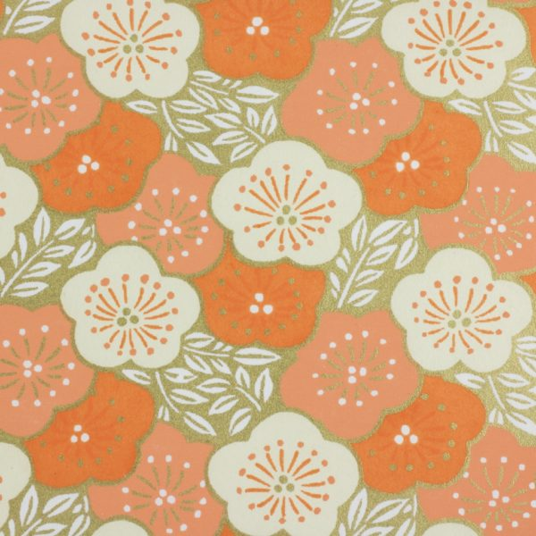 Japanese Chiyogami Paper Apricot Lilypad 1015c