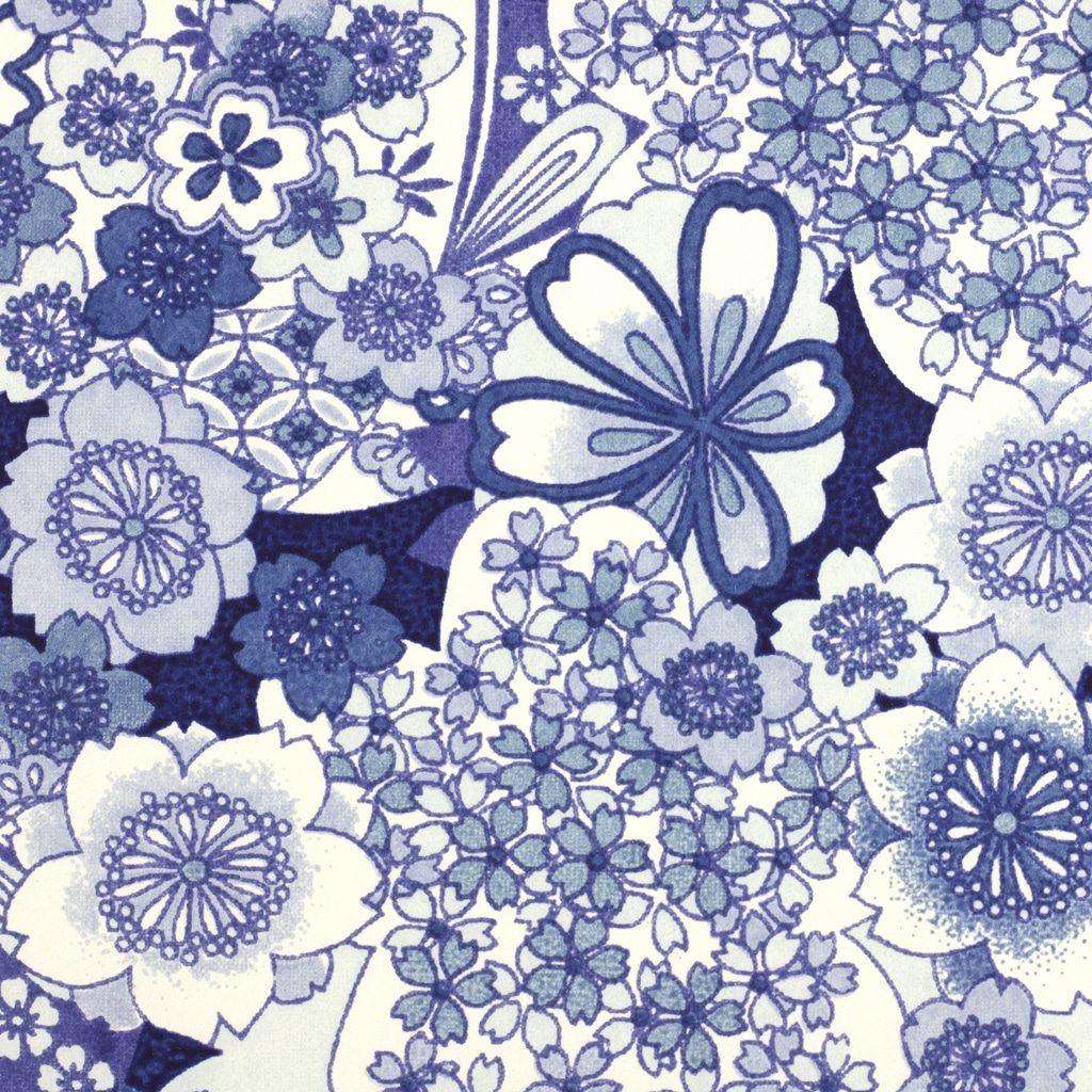 Japanese Chiyogami Paper Floral Denim 946 c