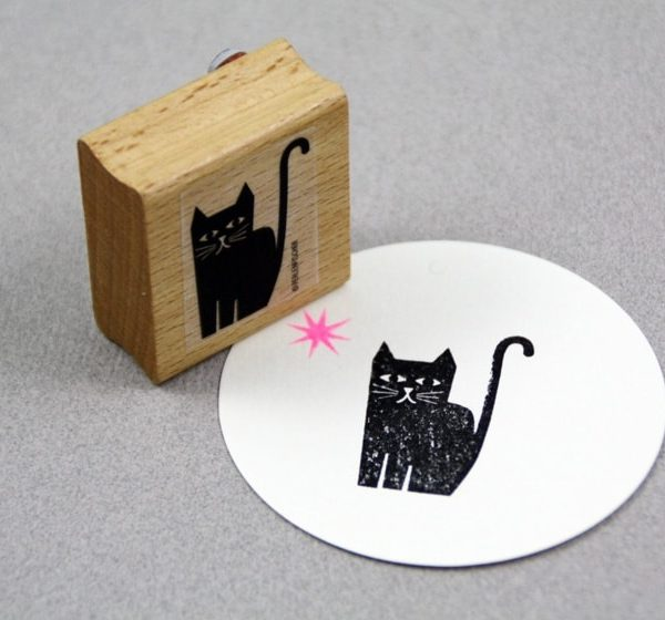 Sitting Cat Rubber Stamp
