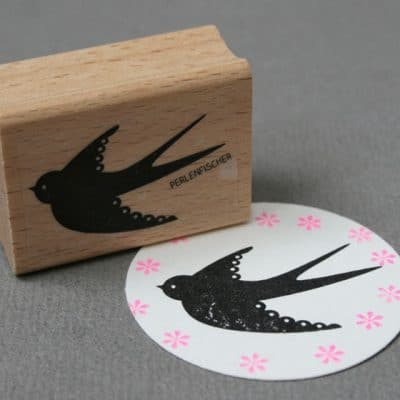Flying swallow bird rubber stamp