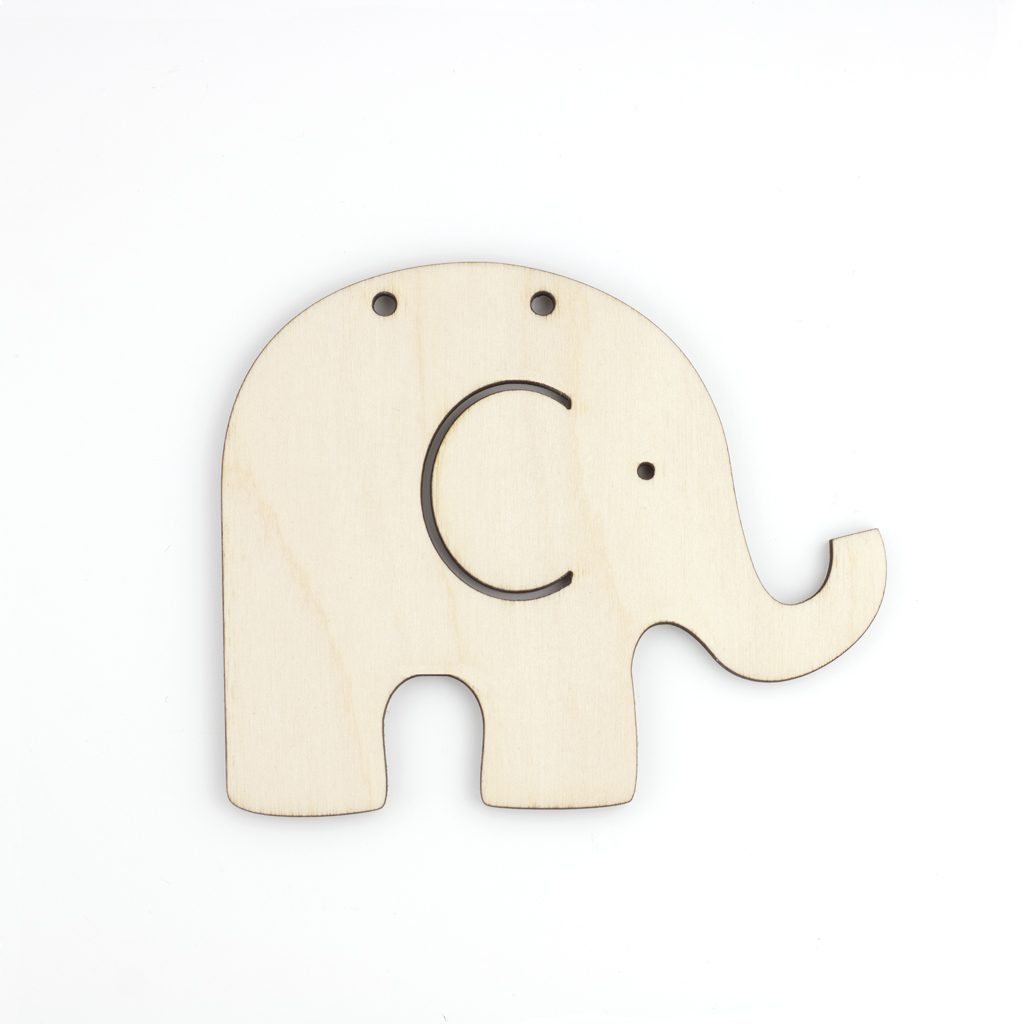 Wooden craft blank shape Elephant Bunting