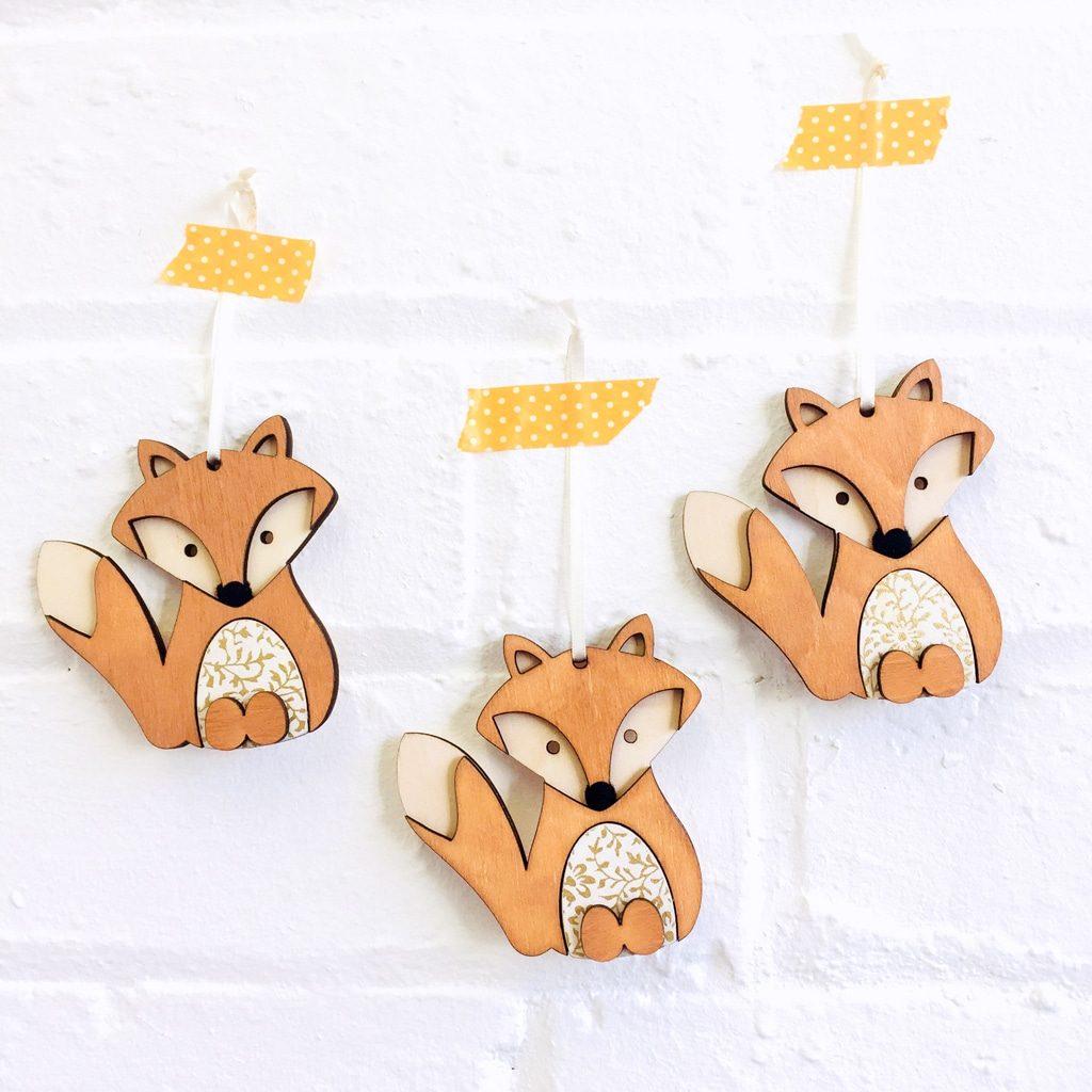 Craft wooden fox hanging decoration