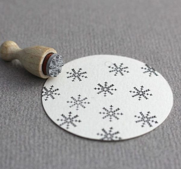 cross stitch snowflake rubber stamp