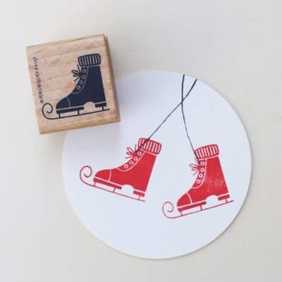 ice skate rubber stamp