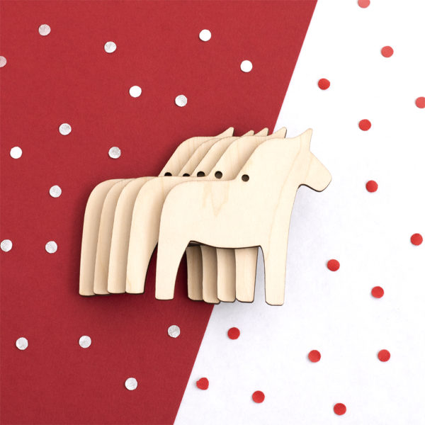 Wooden Dala Horse Christmas Shapes