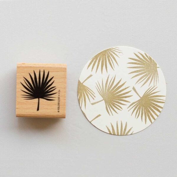 Palm leaf rubber stamp