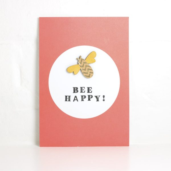 bee happy postcard