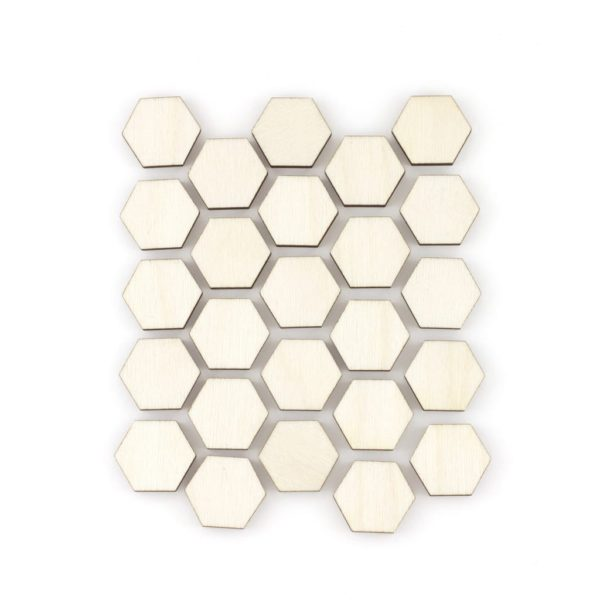 mini wooden hexagons