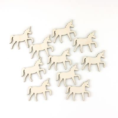 mini wooden unicorns