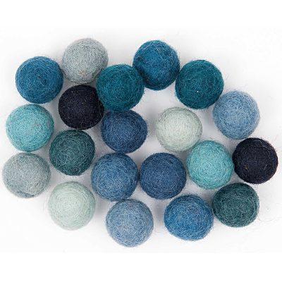 blue felt pom poms