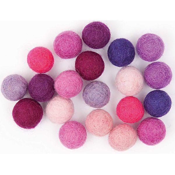 pink felt pom poms