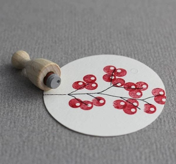 single berry mini rubber stamp