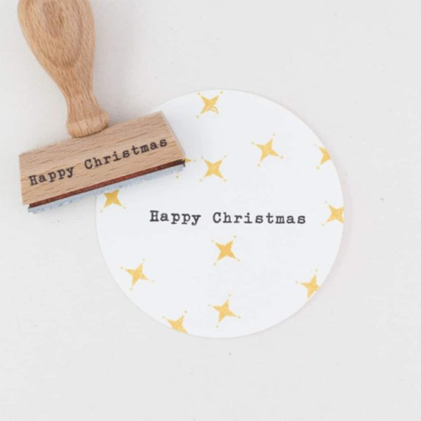 happy christmas rubber stamp