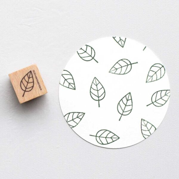 Open leaf rubber stamp