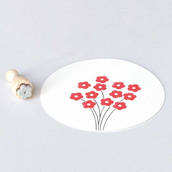 Petal Flower Mini Rubber Stamp