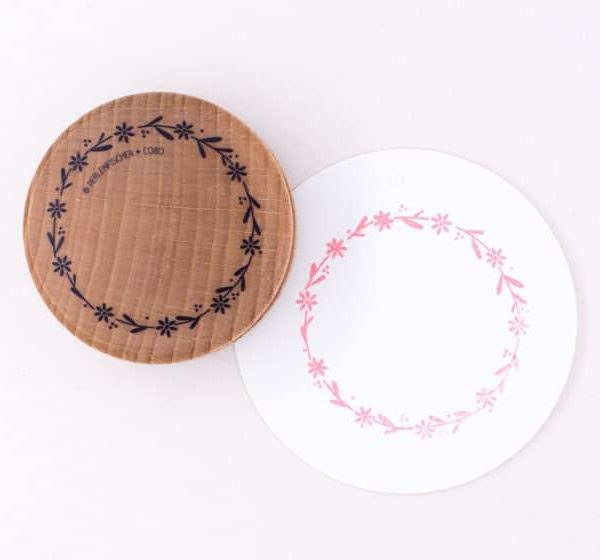 Blossom wreath rubber stamp