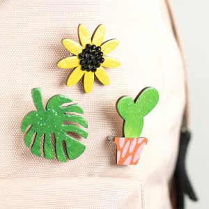 Brooches Monstera Artcuts Wooden