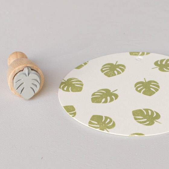 monstera mini rubber stamp