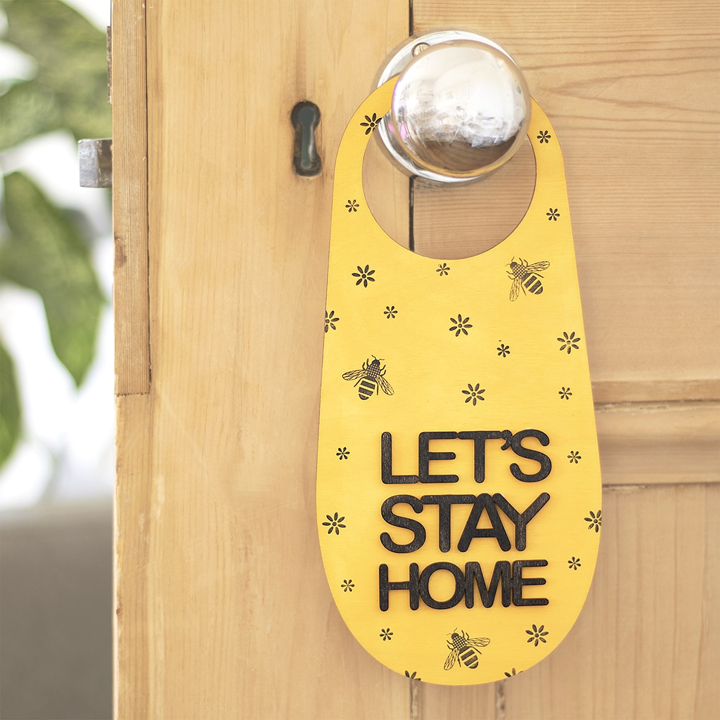 Create this 'Let's Stay Home' door hanger using the mango madness and black ink pads, jasmine rubber stamp, bee rubber stamp and daisy rubber stamp.