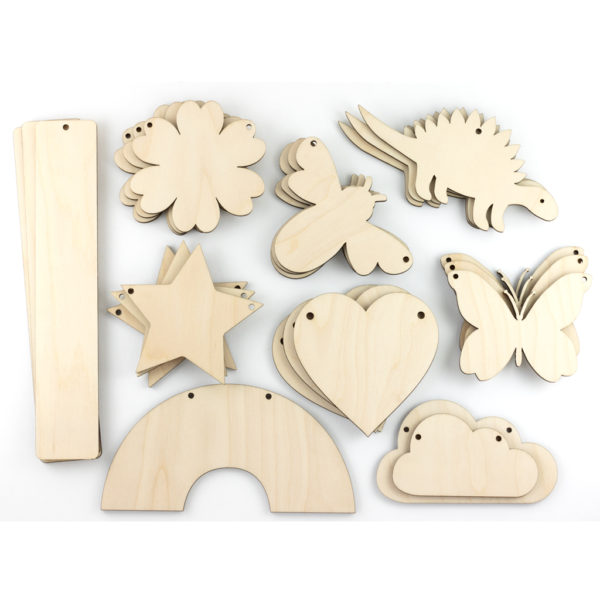 Wooden Shapes Stars Hearts Dinosaurs Bookmarks Rainbow
