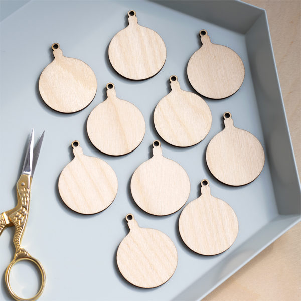 mini wooden round baubles