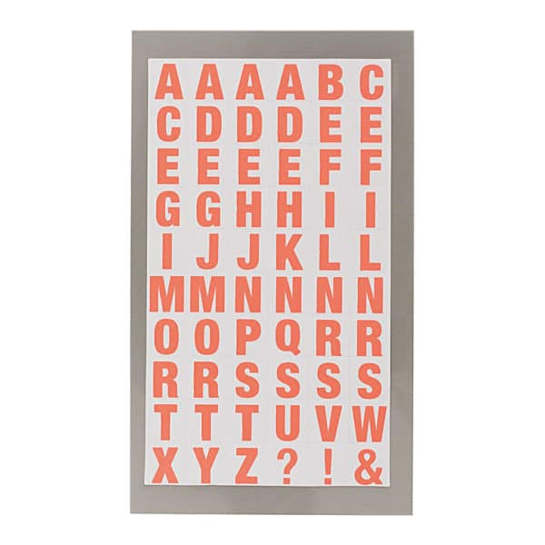 Neon Red Alphabet Letter Stickers