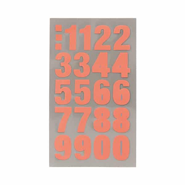 Neon Red Number Stickers