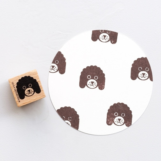 doodle dog head rubber stamp