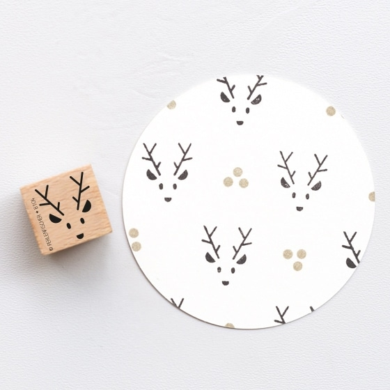 Mini Rudolf Rubber Stamp by Perlenfischer