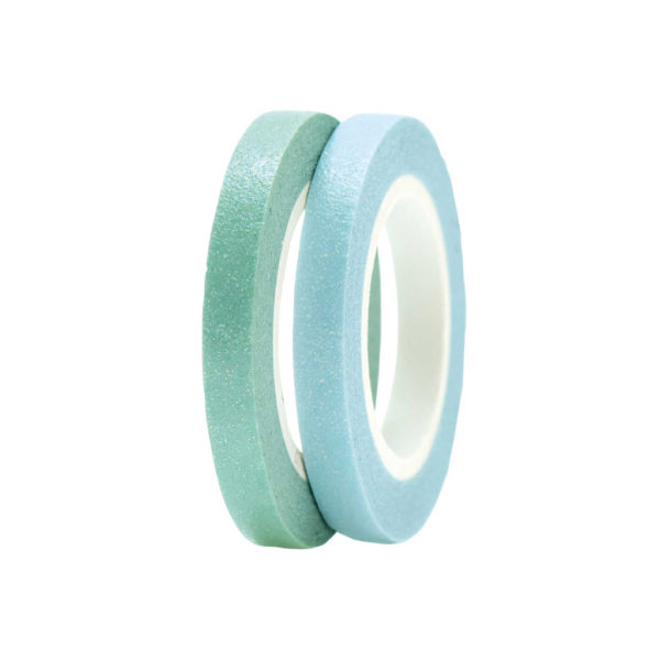 Washi Tape Green 7 Blue Glitter