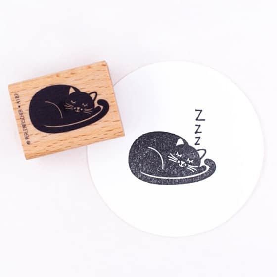 sleeping cat rubber stamp by perlenfischer