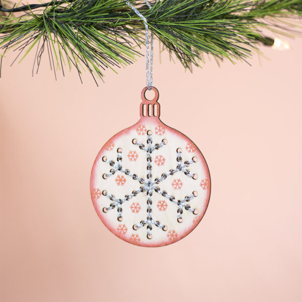 wooden embroidery bauble