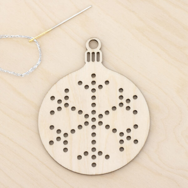 wooden bauble embroidery snowflake