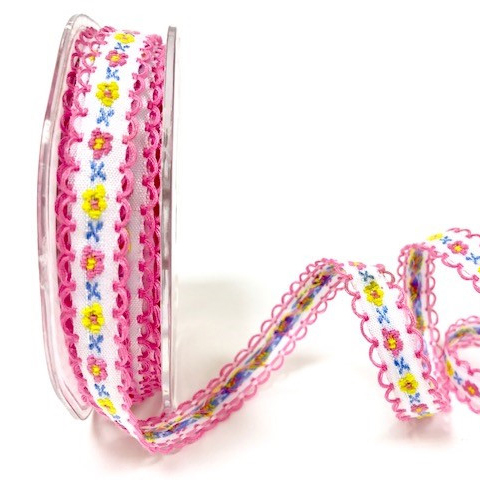 Embroidered Cotton Floral Ribbon ~ Pink