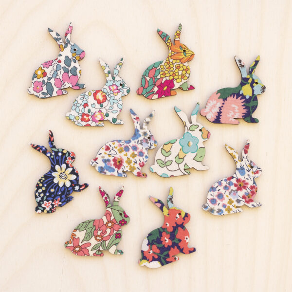 Mini Wooden Bunnies Liberty Fabric
