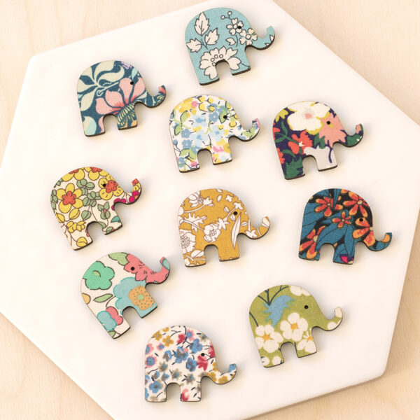 liberty elephant fabric wooden shapes