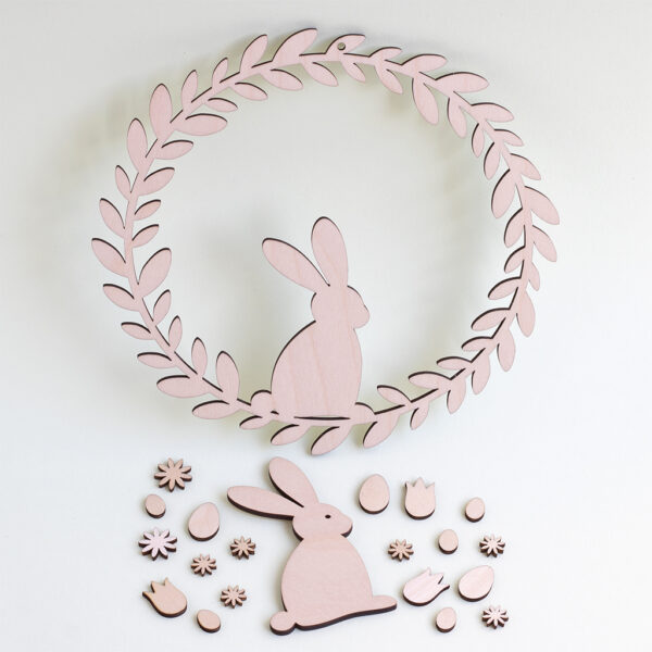 wooden bunny wreath kit