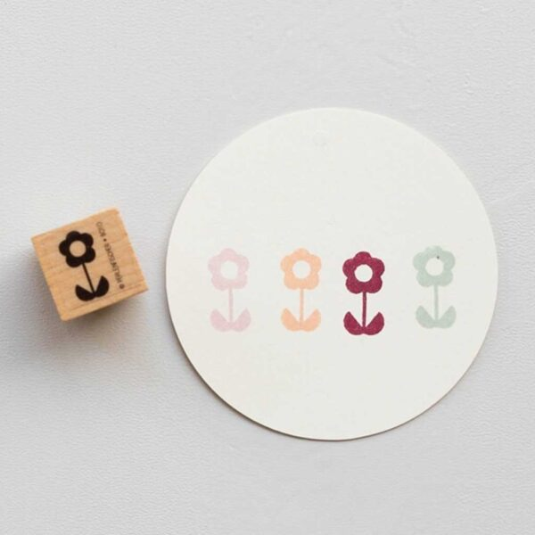 Retro Flower Stem Rubber Stamp