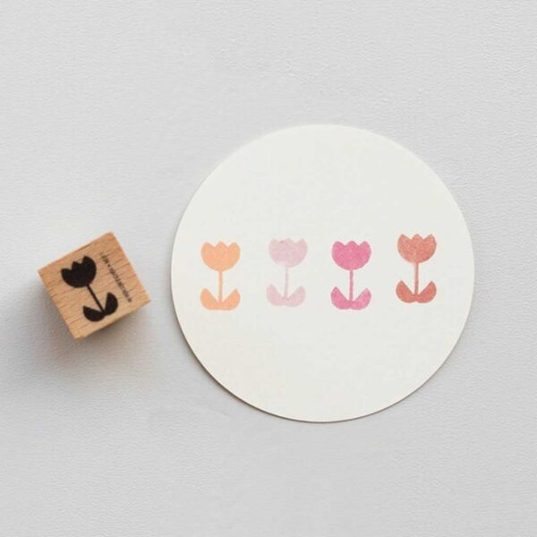 Tulip Stem Block Rubber Stamp