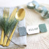 christmas cracker wooden name tag green