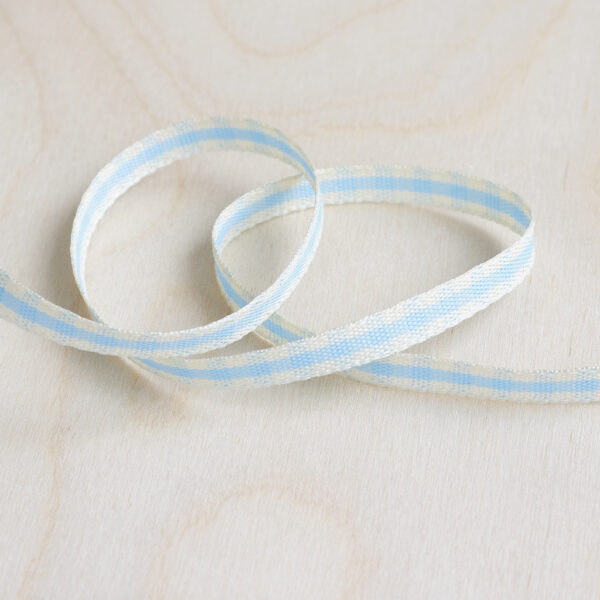 Sky Blue and Ivory Gingham Ribbon