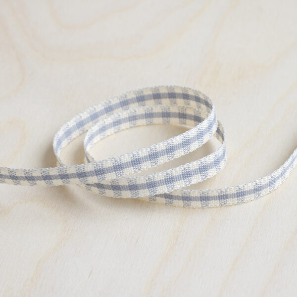 Silver Grey and Ivory Gingham Ribbon